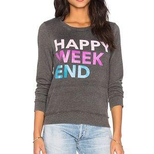 Chaser Happy Weekend Gray Sweatshirt